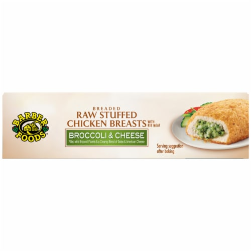 Barber Foods Broccoli & Cheese Breaded Raw Stuffed Chicken Breasts Perspective: top