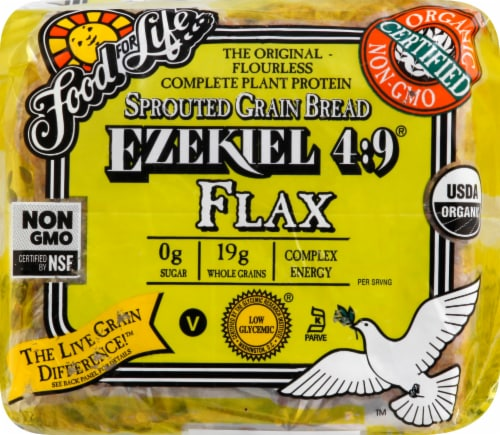 Food For Life Organic Ezekiel 4:9 Sprouted Grain Flax Bread Perspective: top