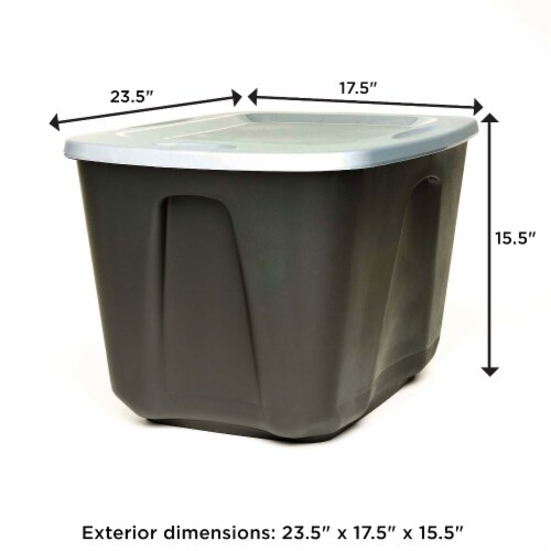 Homz 6618BKTS.08 18 Gallon Durable Molded Plastic Storage Bin w/ Lid, Black/Gray Perspective: top