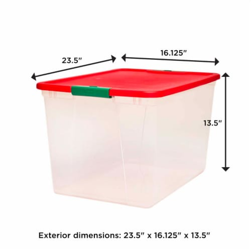 Homz 64 Qt Secure Latching Large Clear Plastic Storage Container Bin w/ Red Lid Perspective: top