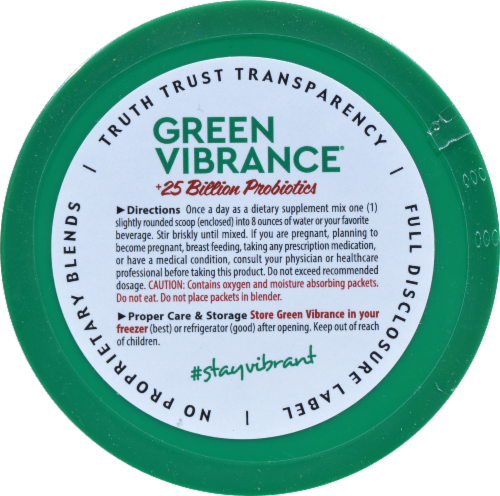 Vibrant Health Green Vibrance +25 Billion Probiotics Dietary Supplement Perspective: top