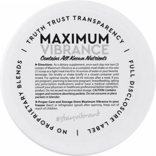 Vibrant Health Maximum Vibrance Vanilla Bean Multi Supplement Powder Perspective: top