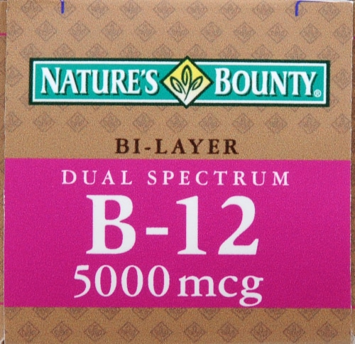 Nature's Bounty Dual Spectrum Bi-Layer B-12 Tablets 5000mg Perspective: top