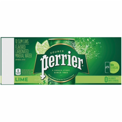 Perrier Lime Flavored Carbonated Mineral Water 10 Count Perspective: top