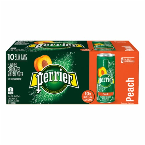 Perrier Peach Flavored Sparkling Mineral Water Perspective: top