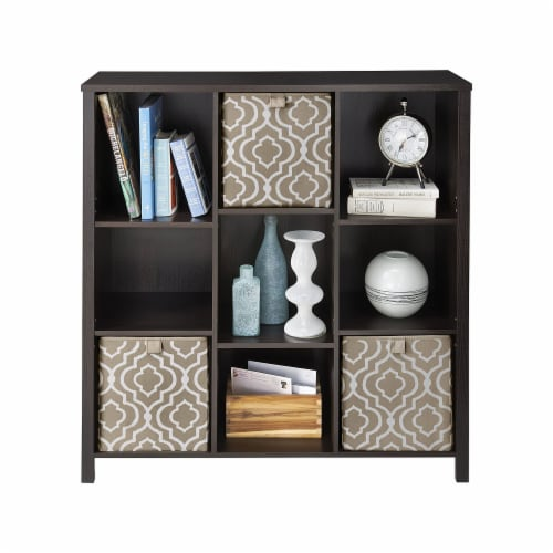 ClosetMaid 1605800 Adjustable 9 Cube Storage Organizer Book Shelf, Black Walnut Perspective: top