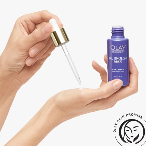 Olay Regenerist Retinol 24 Max Fragrance Free Night Serum Face Moisturizer Perspective: top