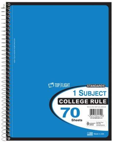 Top Flight College Ruled 1-Subject Notebook - 70 Sheets - Assorted Perspective: top