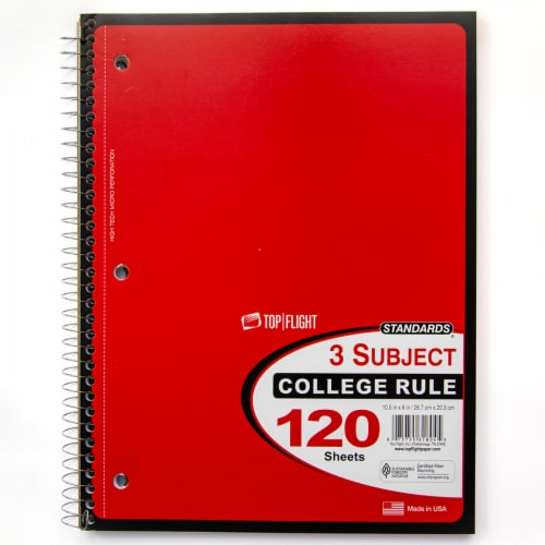 Top Flight College Ruled 3-Subject Notebook - 120 Sheets - Assorted Perspective: top