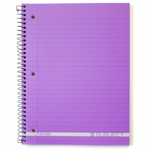 Top Flight Boss Wide Ruled 3-Subject Notebook - 138 Sheets - Assorted Perspective: top