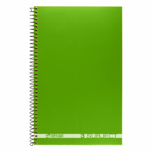 Top Flight Boss College Ruled 3-Subject Notebook - 108 Sheets - Assorted Perspective: top