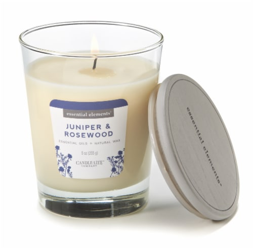 Candle-lite Essential Elements Juniper and Rosewood Glass Jar Candle - White Perspective: top