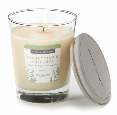 Candle-lite Essential Elements Eucalyptus and Mint Leaf Glass Jar Candle - White Perspective: top