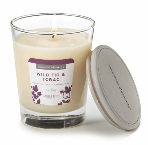Candle-lite Essential Elements Wild Fig and Tobac Glass Jar Candle - White Perspective: top