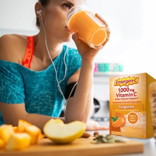 Emergen-C® Tangerine Vitamin C Immune Supplement Fizzy Drink Mix Packets 1000mg Perspective: top