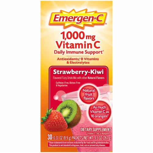 Emergen-C Strawberry-Kiwi Dietary Supplement Fizzy Drink Packets Perspective: top