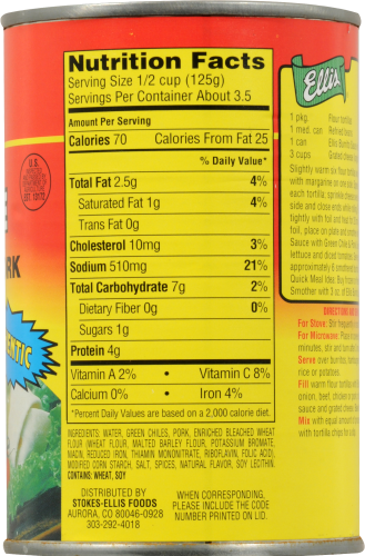 Ellis Burrito Sauce with Green Chile and Pork Perspective: top