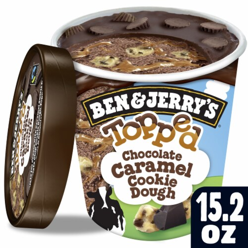 Ben & Jerry's Topped Chocolate Caramel Cookie Dough Ice Cream Perspective: top