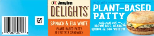 Jimmy Dean Delights® Spinach & Egg White Plant Based Patty & Frittata Sandwich Perspective: top