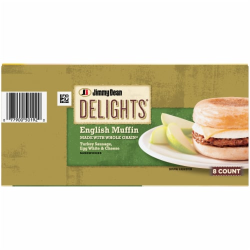 Jimmy Dean Delights Turkey Sausage Egg White & Cheese English Muffin Sandwiches Perspective: top