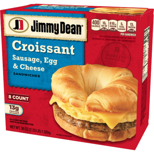 Jimmy Dean Sausage Egg & Cheese Croissant Sandwiches Perspective: top