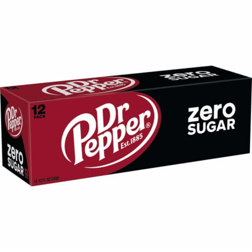 Dr Pepper Zero Sugar Soda Perspective: top