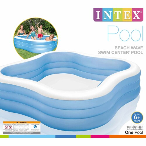 Intex Swim Center 90in x 90in x 2in Inflatable Play Kids Backyard Swimming Pool Perspective: top