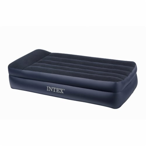 Intex Twin Rest Raised Air Mattress with Built In Pillow and Electric Pump, Gray Perspective: top