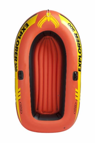 Intex Explorer 300 Compact Inflatable Fishing 3 Person Raft Boat w/ Pump & Oars Perspective: top