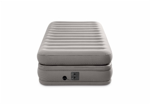 Intex 64443EP Prime Comfort Gray Elevated Air Mattress with Built-In Pump, Twin Perspective: top