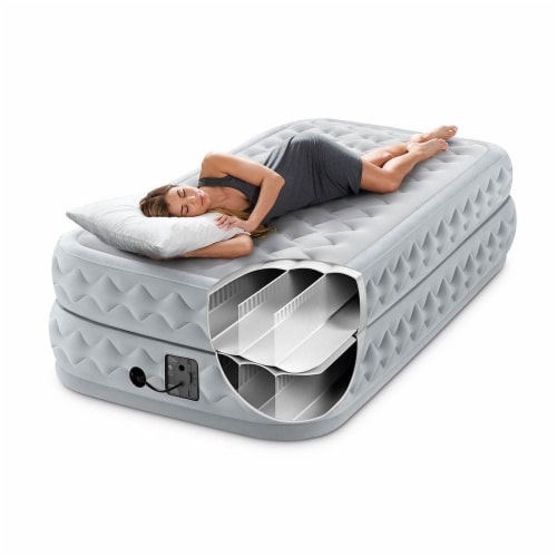 Intex Supreme Air Flow Raised Air Bed Mattress With Built In Pump & Bag, Twin Perspective: top