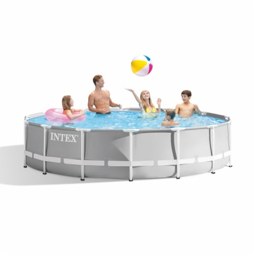 Intex 26719EH 14ft x 42in Prism Metal Frame Above Ground Swimming Pool with Pump Perspective: top