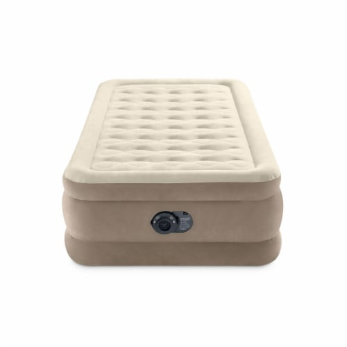 Intex 64425ED Ultra Plush Fiber Tech Airbed Mattress with Built in Pump, Twin Perspective: top