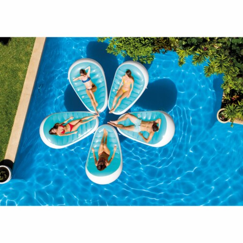 Intex Petal Floating Lounge Chair Pool Float Lounger w/ Cupholder, Blue & White Perspective: top