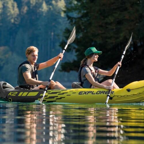 Intex 69629E 86  Lightweight Aluminum Double Oar Inflatable Kayak Paddle, Black Perspective: top