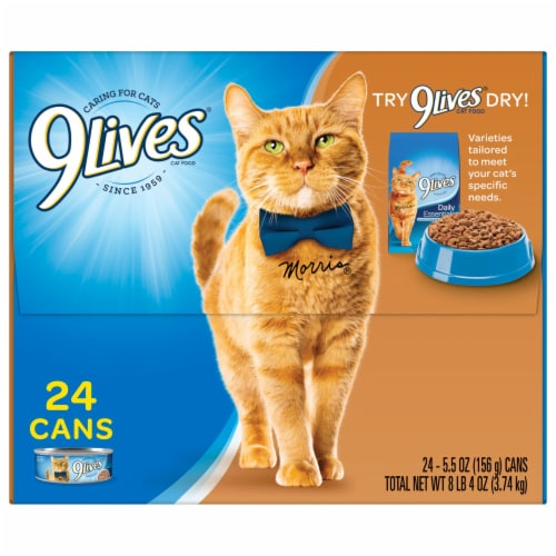 9Lives Turkey Favorites Wet Cat Food Variety Pack 24 Count Perspective: top