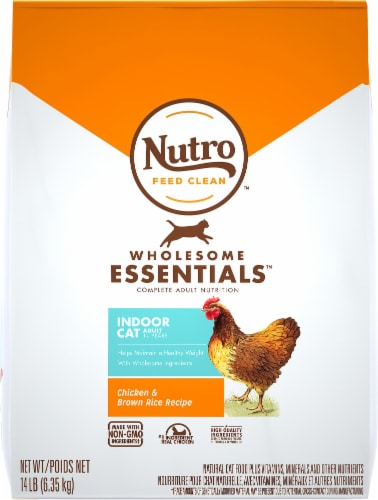 Nutro Wholesome Essentials Indoor Cat Salmon & Brown Rice Recipe Adult Dry Cat Food Perspective: top