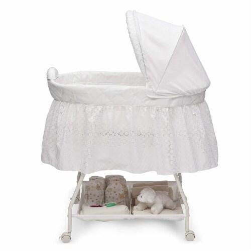 Delta Children Infant Deluxe Sweet Beginnings Baby Bedside Bassinet, Turtle Dove Perspective: top