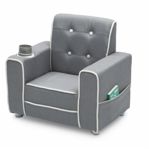 Delta Children Chelsea Kids Toddler Upholstered Chair with Cup Holder, Gray Perspective: top