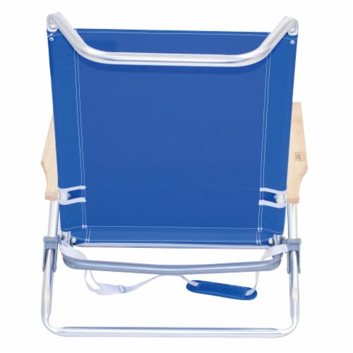 RIO Brands Classic 5 Position Aluminum Lay Flat Folding Beach Lounge Chair, Blue Perspective: top