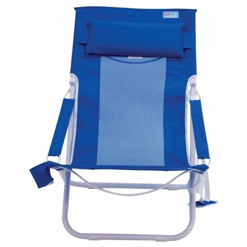 Rio Gear Portable Breeze Hammock Beach Chair w/ Foam Pillow & Cup Holder, Blue Perspective: top