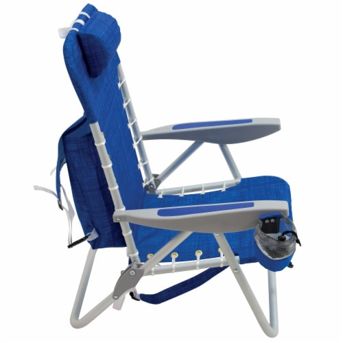 RIO Brands Portable 4 Position Lace Up Folding Backpack Beach Lounge Chair, Blue Perspective: top