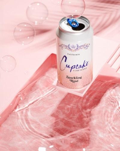 Cupcake Vineyards Sparkling Rose Wine Perspective: top