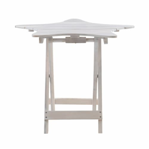 Powell Westover Wood Outdoor Folding Table in Whitewash Perspective: top