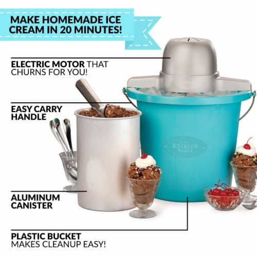 Nostalgia Electric Ice Cream Maker - Blue Perspective: top