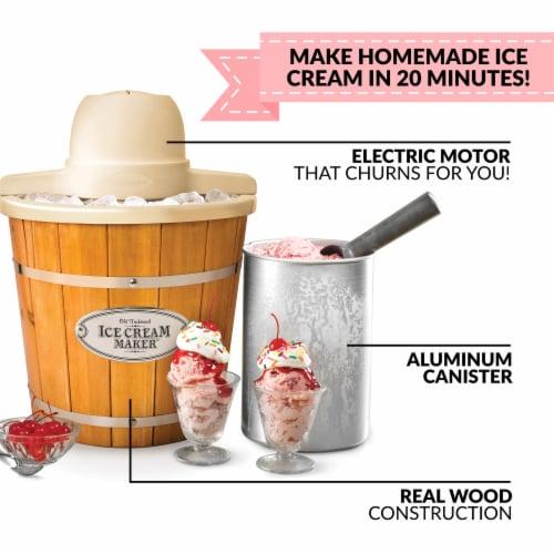 Nostalgia 4 Quart Electric Wood Bucket Ice Cream Maker Perspective: top