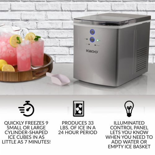 Igloo Automatic Portable Countertop Ice Maker Machine - Silver Perspective: top