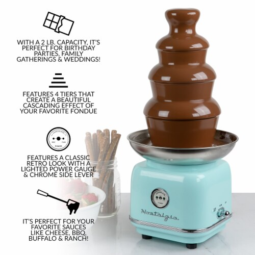 Nostalgia Classic Retro 4-Tier Chocolate Fonde Fountain - Turquoise/Chrome Perspective: top