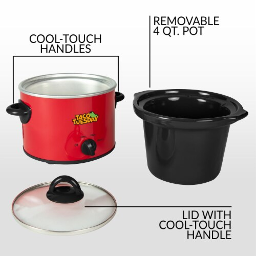 Taco Tuesday Fiesta Slow Cooker - Red/Black Perspective: top