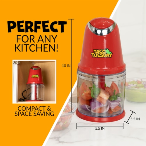 Taco Tuesday Salsa & Guacamole Chopper - Red/Clear Perspective: top